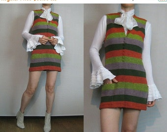 FALL SALE 60s ITALY Wool Heathered Stripes vtg Italian Knit Knitted Button Down Chartreuse Gray Red Striped Vest Mini Dress xs Small 1960s 1