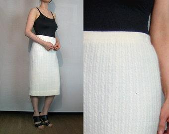 80s Ivory ANGORA CABLE Knit Skirt Vintage 1980s Off White Cream Angora Lambswool Sweater Skirt Vanilla Rabbit Hair Skirt Angora Wool Skirt