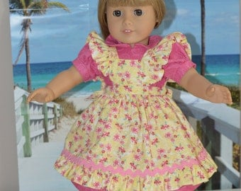 18 Inch Doll Clothes Pink Short Sleeve Dress and Yellow Print Ruffled Pinafore by SEWSWEETDAISY