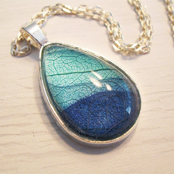 Real Leaf Necklace - Teal and Blue Teardrop Botanical Necklace
