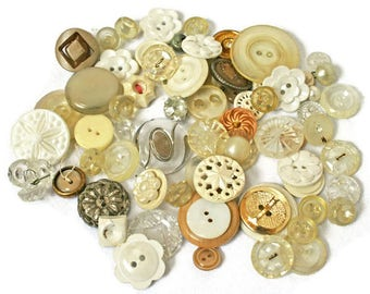 Vintage Button Lot  /  70 + Assorted Buttons in Shades of Cream White and Gold  /  Buttons for Sewing  /  Craft and Jewelry Making Buttons