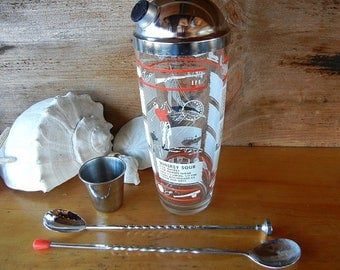 Vintage Barware Cocktail Set with Chrome top, Measuring cup, Smasher Stirrer Sports related Golf Sailing Drink Recipes Manhattan WhiskeySour