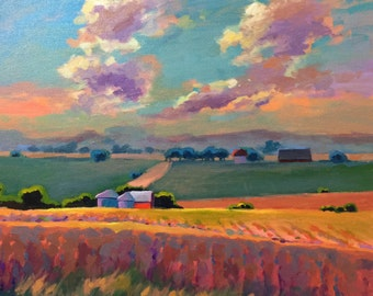 Original Acrylic Landscape painting, clouds fields, iowa landscape, canvas 20 x 20 inches blue green red handmade large art, gallery wrapped