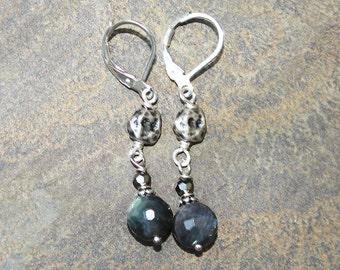 Labradorite Earrings, Natural Stone Earrings, Labradorite Jewelry, Gemstone Earrings, Gray Earrings, Dangly Earrings, Handmade Earrings