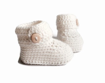 White Baby Booties, Knitted Baby Booties, Knit Baby Booties, Crochet Baby Booties, Merino Wool, Baby Shower Gift by Warm and Woolly on Etsy