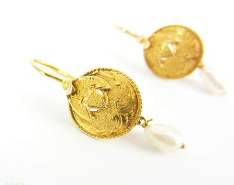 Victorian Gold & Pearl Earrings, Engraved Floral Drops with Baroque Pearl Dangles. Small Disc Shape Earrings, 15 Carat Gold.