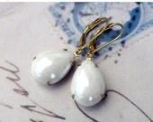 On Sale White Opal, Opal Finish White Glass Pear Teardrops in Golden Brass Settings Earrings by Hollywood Hillbilly