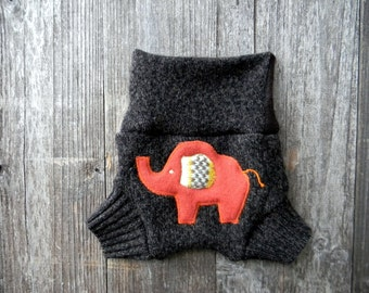 Upcycled Wool Soaker Cover Diaper Cover With Added Doubler Brown With Elephant Applique SMALL 3-7M Kidsgogreen