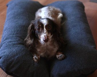 Dog Bed, Dachshund Dog Bed, Dog Burrow Bed, Bun Bed, - The Ominous Cloud - Bunbed, Black Charcoal Gray Plush Fleece, Dachshund Bed