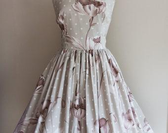 1950s Large Polkadot and Floral Print Dress