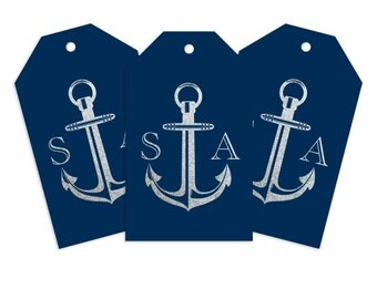 Custom Monogram Gift Tag, Anchors Aweigh Personalized Gift Tag for Gifts, Holidays, Weddings and More