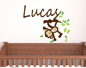 Nursery Wall Decals. Boy Monkey Custom Name Decal perfect decoration Kids Wall Sticker Baby Name Decal
