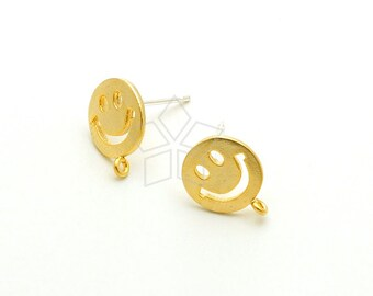 SI-783-MG / 2 Pcs - Smiley Face Stud Earrings, Smile Ear Posts, Happy Face Earrings, Matte Gold Plated over Brass / 9mm