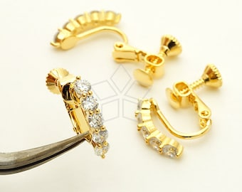 EA-205-GD / 6 Pcs - New CZ Screw Back Non Piercing Earring Findings, Clip On Earrings, 16K Gold Plated over Brass / 16mm x 14mm