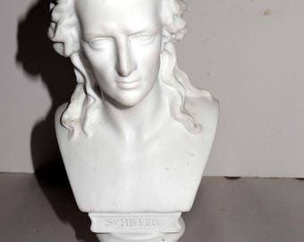 "Bust of ""Schiller"" Bisque Figurine Home and Garden Collectibles Figurines"