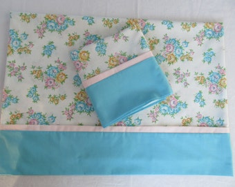 Pretty Pillowcases Pair Blue Turquoise Mini Flowers Floral Print Standard Size Made from Vintage Fabric Set Handmade