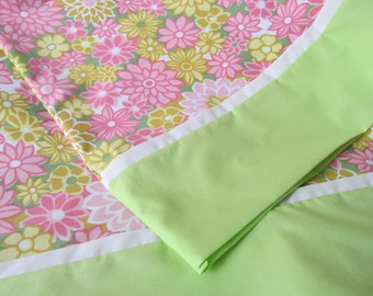 Beautiful Pillowcases Pair Pink White Lime Green Flowers Floral Print Standard Size Made from Vintage Fabric Set Handmade