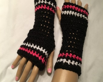 Crocheted Fingerless Gloves- Black, White, and Pink-Small-Adult