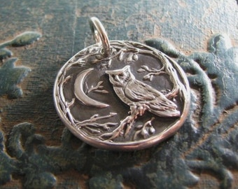Night Owl No. 2, Fine Silver Pendant, Recycled Silver, Original and Exclusive, by SilverWishes