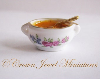1:12 Holiday Tureen of Spiced Pumpkin Soup by IGMA Artisan Robin Brady-Boxwell - Crown Jewel Miniatures