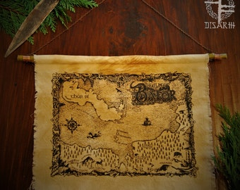 Map of the Realm of Balor ~ Hand pulled screen print on hand dyed linen, hanging from a willow branch