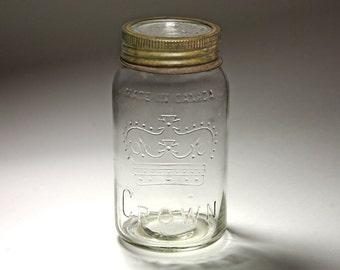 Vintage Crown Mason Jar from Canada - circa 1950's