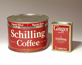 Vintage Schilling Coffee Can and Schilling Ginger Spice Tin - Circa 1940's