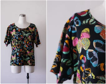 Kenzo Paris Butterfly Print Cotton Top L, Designer Blouse Black Printed T-Shirt Large