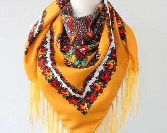 Babushka scarf Russian folk scarf Tassel shawl yellow fringe scarf Womens shawl Soviet shawl wrap floral scarf christmas gift for her