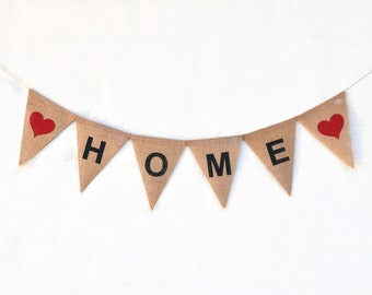 HOME banner Hessian Burlap Party Celebration Party Banner Bunting Decoration photo prop house warming black red wall sign