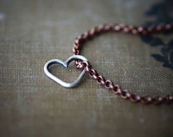 Sterling Heart on Copper Chain Bracelet or Anklet - Antique Finish