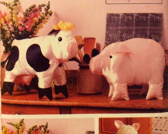 Sewing Pattern Stuffed Pig Sheep Cat Cow Toys Decorative Farm Animals Uncut 1988 Stuffed Fabric