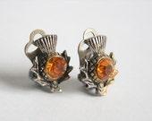 Vintage Scottish thistle earrings. Clip on earrings. Golden crystals