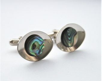 Vintage stainless steel cufflinks with paua shell.  Abalone cufflinks. Retro cufflinks