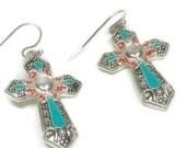 Cross Earrings, Turquoise Earrings, Stamped Cross Earrings, Native, Tribal Earrings, Southwestern, Western Cross Jewelry, Religious, Easter