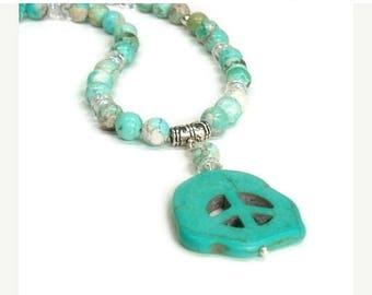 Sale| Gemstone Peace Sign Necklace Turquoise Hippie Boho Necklace 60s Peace Necklace Women Teen Peace Symbol Medallion Beaded Peace Necklace