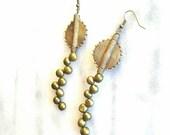 Ghanaian geometric pendant earrings- African tribal brass pendant earrings-freshwater pearl earrings