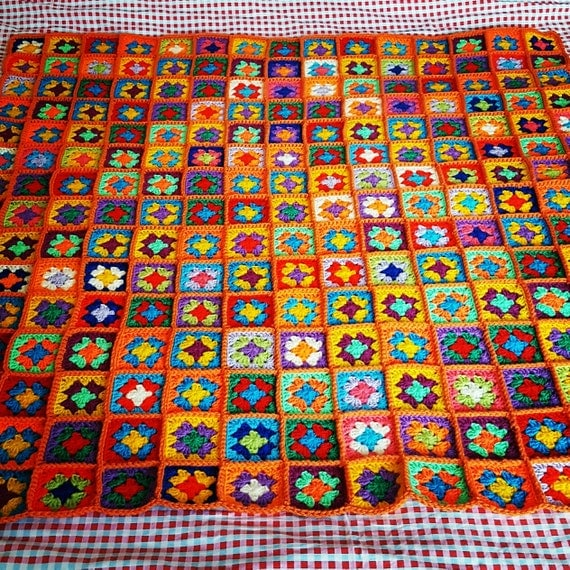 Crochet Blanket Afghan Ultra Colorful Mini Granny Squares In Stock