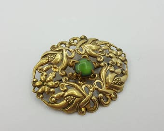 Czech Glass  Victorian Style Brooch  Green large  Art Nouveau