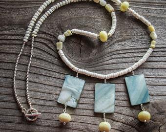 Necklace Chunky Peridot Jasper and Shell