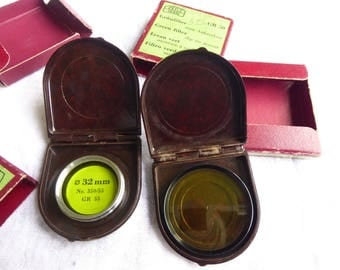 2 Vintage Zeiss Ikon Filters in Bakelite Cases and Boxes