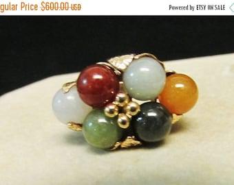 On Sale Vintage Estate  Ming's of Honolulu 6 Multi Color Jade Ball Ring