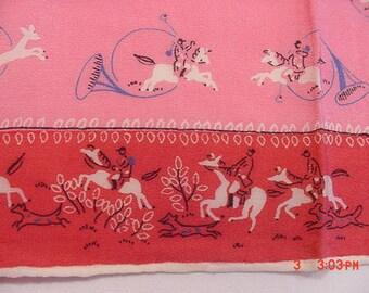 Vintage Silk Handkerchief Fox Or Deer Hunting Theme  17 - 241