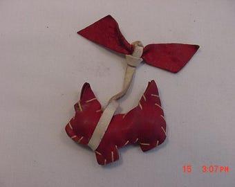 Vintage Red Leather Handmade Scottish Terrier Dog & Bow  17 - 494
