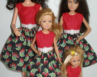 """Handmade 11.5"""" fashion doll and sisters clothes - 4 fashion doll sisters black and red cherry print dresses"""