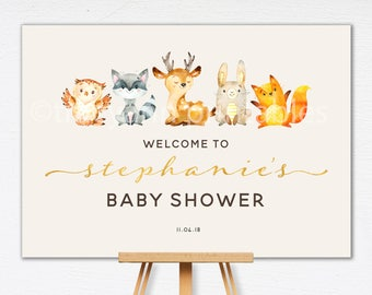 Woodland Baby Shower Welcome Sign | Baby shower Sign | Custom Welcome sign | Woodland Babyshower decor | Printable Birthday Sign | 0548
