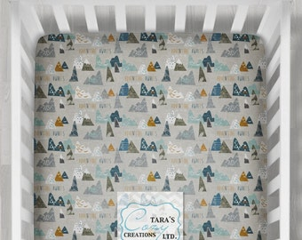 MINKY Adventure Awaits Crib Sheet- Designer Minky - Boppy Cover - Change Pad Cover- Adventure Crib Sheet- Max's Mountains Sheet- Custom
