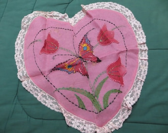 Vintage Embroidered Valentine Pillow-Pillow Sam-Pillow cover-Pink