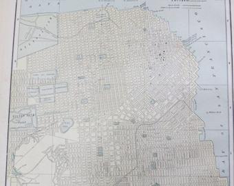 Store Closing SALE 1891 Original Color Atlas Map-Art-122 years Old-City Street View-San Francisco