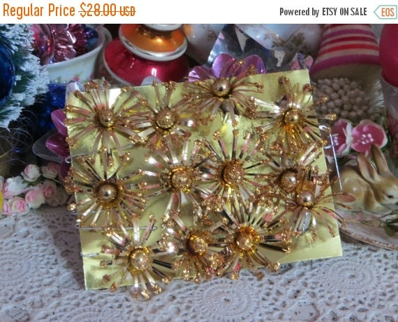 ON SALE Vintage Mercury Glass Pom Pom Package Ties-Picks-Corsage-NOS-Glass-Tinsel-Foil-Old Stock-Original Package-Christmas-Gold